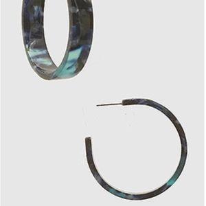 Midnight Teal Cellulose Acetate Hoop Earrings